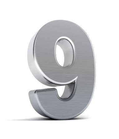 number nine: El n�mero nueve como un objeto de cromo pulido sobre blanco Foto de archivo