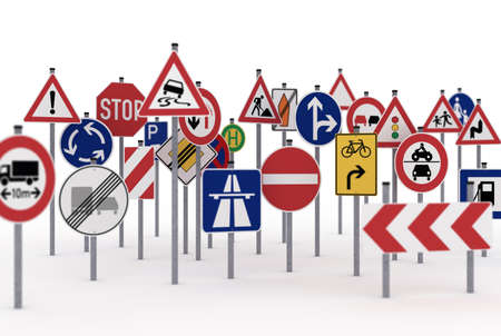 safety signs: Too many traffic signs on white background
