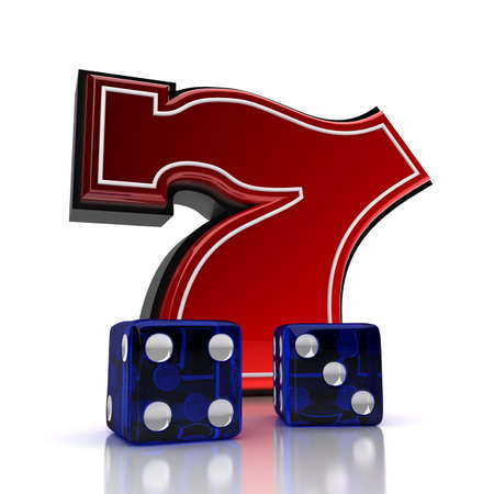 Lucky number seven with dice over white background photo