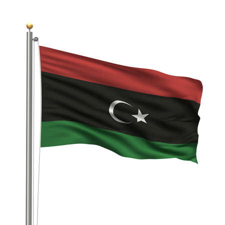 libya: Flag of the Kingdom of Libya waving in the wind over white background Stock Photo