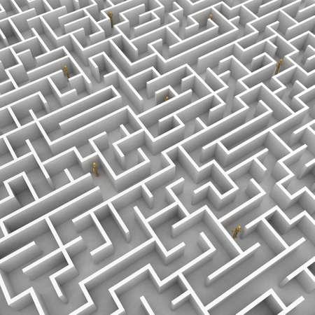 pursue: A team of mannequins is stuck in a big maze