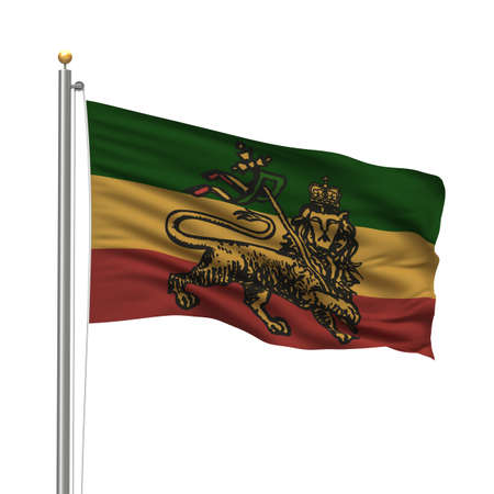 rasta colors: Rastafarian flag on flag pole waving in the wind Stock Photo