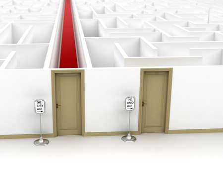 laberinto: Imagen conceptual que muestra el f�cil y el duro camino