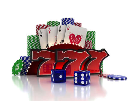 Lucky Sevens avec cartes et de dés sur fond de casino Banque d'images - 9107852