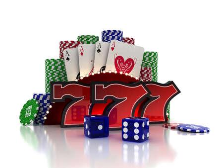 fichas casino: Sevens suerte con tarjetas y dados sobre fondo de casino