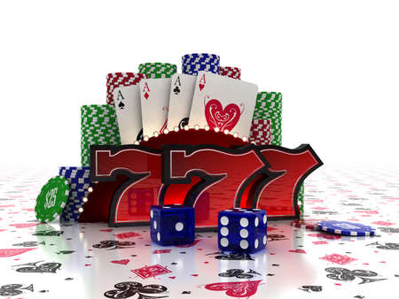 Lucky Sevens with cards and dice over casino background photo