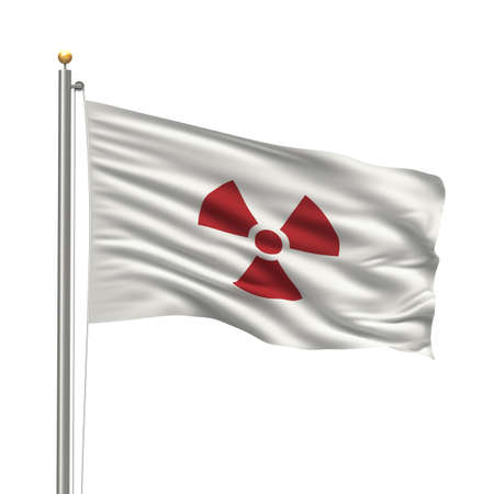bandera japon: Bandera de Jap�n con una advertencia de readioactiviy Foto de archivo