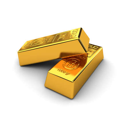 Two gold bars over white background Stock Photo - 9211741