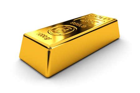 financial metaphor: Dos barras de oro sobre fondo blanco