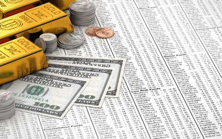 goldbars: Gold bars, coins and hundred dollar bills over stock chart