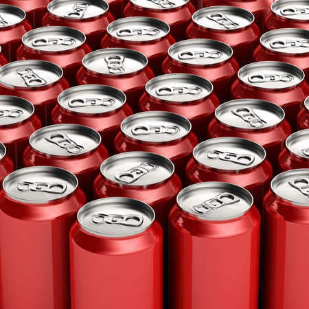 aluminum can: Loads of unopened red soda cans Stock Photo