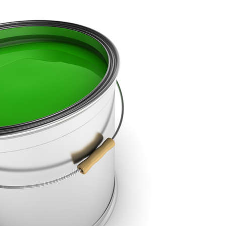Paint can with green color over white background Stock Photo - 9279446