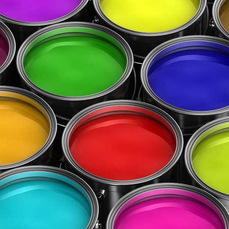 Seaux de peinture avec de la peinture de couleur différentes Banque d'images - 9288496