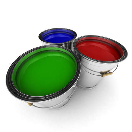 Three paint buckets with green, red and blue paint in them photo