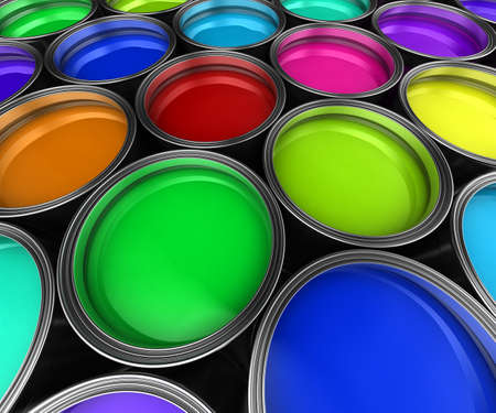 Many paint buckets with various colored paint photo