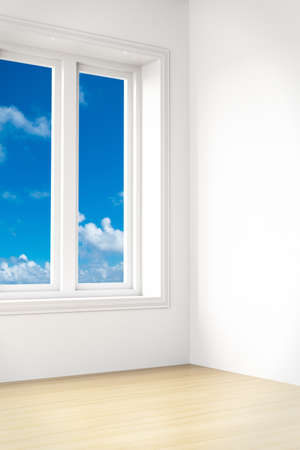 Beautiful view out of a modern unfurnished room photo