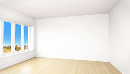 unfurnished: Beautiful view out of a modern unfurnished room