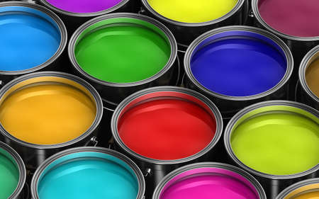 Paint buckets with various colored paint photo