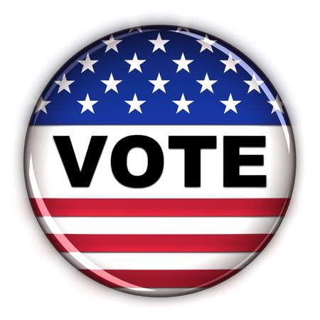 Bouton de vote patriotique sur fond blanc Banque d'images - 9429034