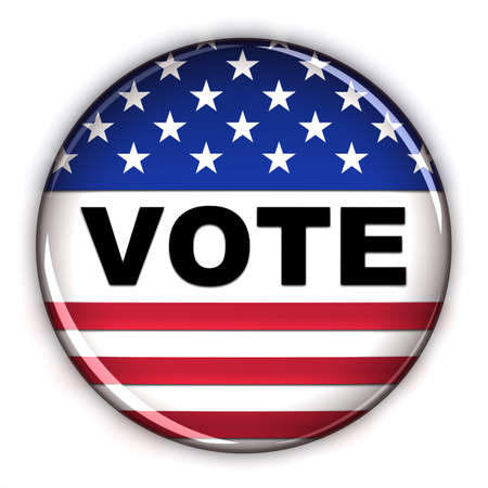 voters: Patriotic vote button over white background Stock Photo