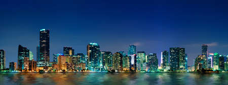 miami sunset: Miami skyline at night - panoramic image