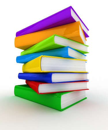 unmarked: Pile of unmarked and colorful books over white background