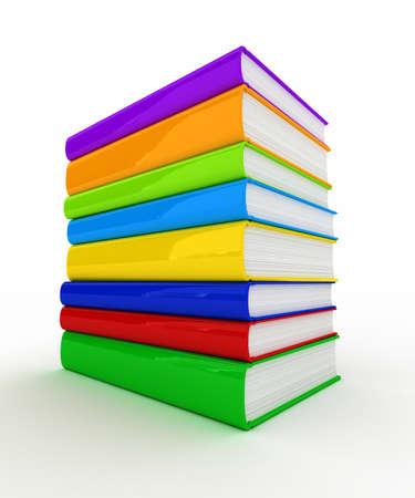 Pile de livres non marquées et colorés sur fond blanc Banque d'images - 9523900