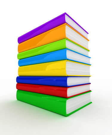 Pile of unmarked and colorful books over white background photo