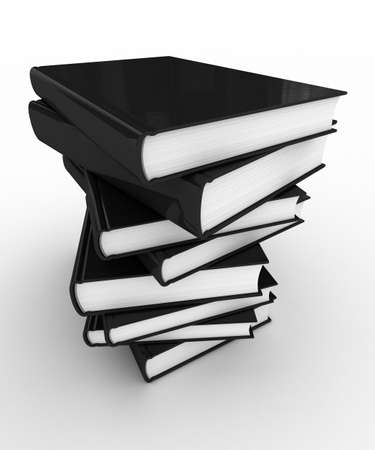 unmarked: Stack of unmarked books over white background