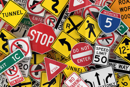 lane: Many american traffic signs mixed together Stock Photo