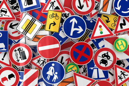 overtake: Many european traffic signs mixed together Stock Photo