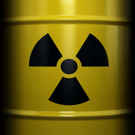 Radioactive symbol imprinted onto a barrel with nuclear waste photo
