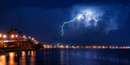 Lighnting Bolt touching the ground during a storm front photo