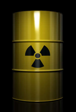 Radioactive symbol imprinted onto a barrel with nuclear waste Stock Photo - 9595721