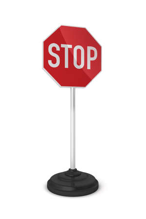 road warning sign: Little stop sign on a stand over white background