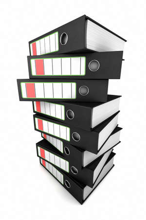 office supplies: Stacked ring binders over white background