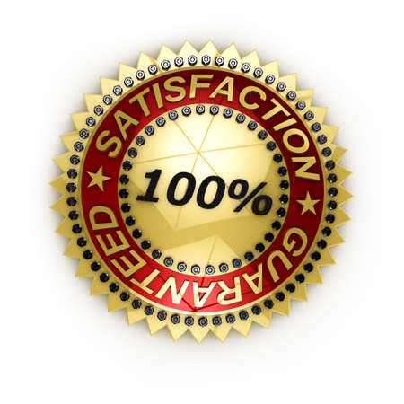 Isolated Satisfaction Guaranteed seal over white Stock Photo - 9670093