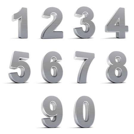 Nombre de zéro à neuf en chrome sur fond blanc Banque d'images - 9745663