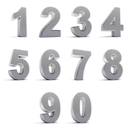 Number from zero to nine in chrome over white background