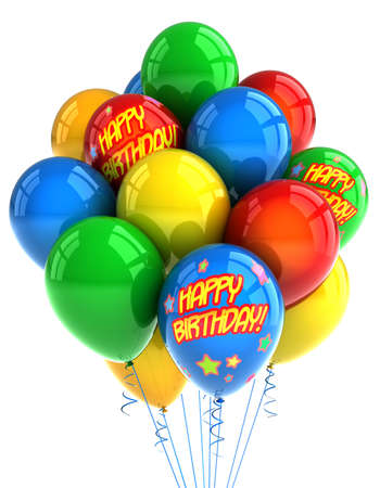 Colorful party balloons celebrating a birthday over white photo