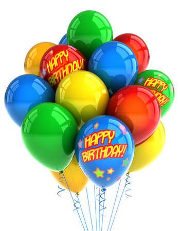 globos fiesta: Globos coloridos partido celebrando un cumplea�os en blanco