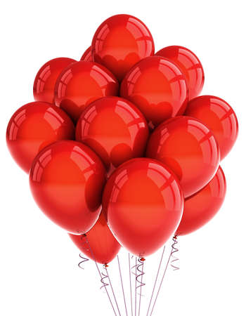 A bunch of red party balloons over white background photo