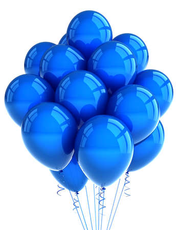 A bunch of blue party balloons over white background