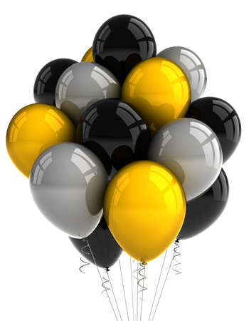 A bunch of party balloons over white background