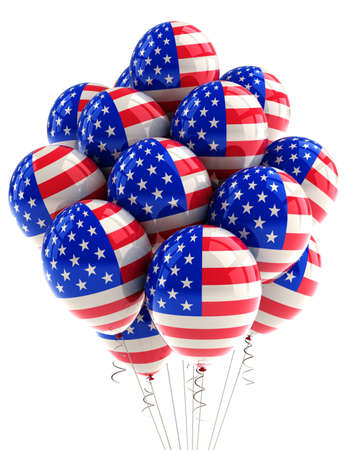 declaration of independence: Patriotic US balloons with american flag design over white