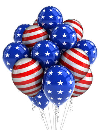fourth july: American patriotic balloons in traditional colors over white