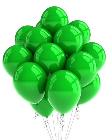 A bunch of green party balloons over white background photo