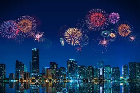 firework: Big fireworks over the skyline of downtown Miami