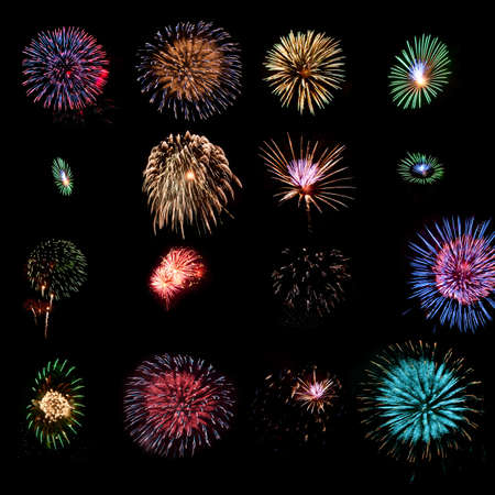 Sixteen different fireworks explosions as design elements Stock Photo - 9951815
