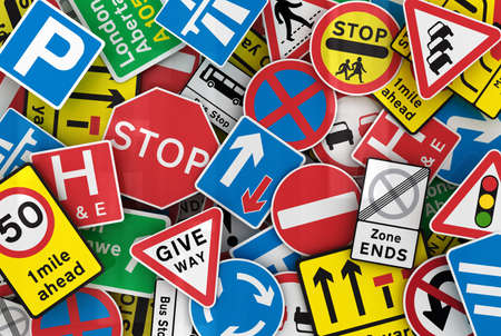 Chaotic collection of traffic signs from the United Kingdom photo